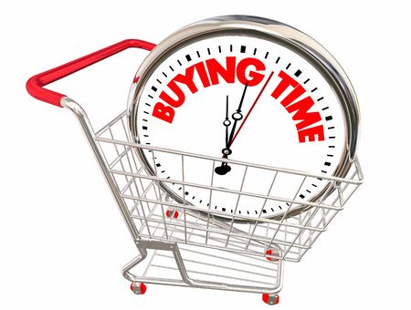 Buying Time Shopping Cart Clock 3d Illustration
