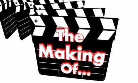The Making of Behind the Scenes Production Secrets Movie Clappers 3d Illustration Banco de Imagens