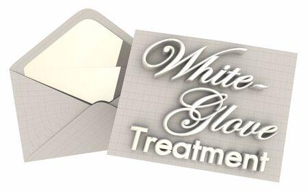 Weißer Handschuh Behandlung VIP Extra Aufmerksamkeit Pflege 3D Illustration