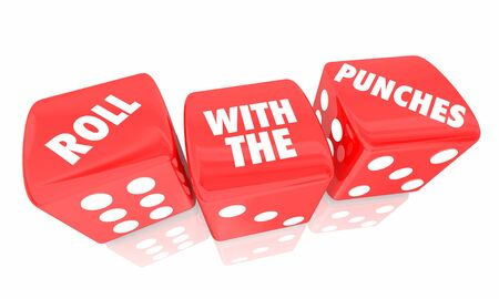 Roll With the Punches Dice Adapt Change 3d Illustration