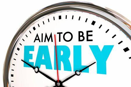 Apunte a llegar temprano, puntual, llegue antes, a tiempo, reloj, ilustración 3d