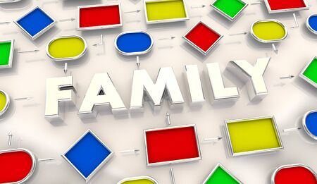 Family Connections Boxes Relationships 3d Illustration