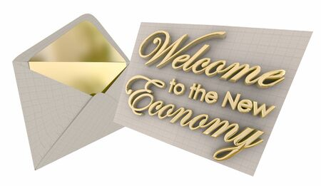 Welcome to the New Economy Invitation Envelope 3d Illustration