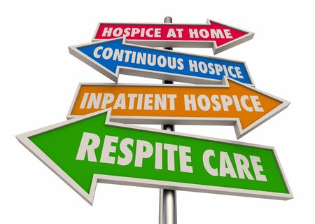 Hospice Levels Stages At Home Continuous Inpatient Respite Care Signs 3d Illustration Stock fotó
