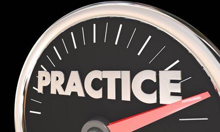 Practice Prepare Get Ready Learn Repeat Word Speedometer 3d Illustration Stock fotó