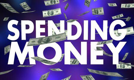 Spending Money Allowance Budget Falling Dollars Cash 3d Illustration