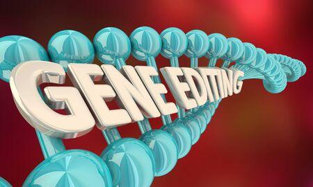 Gene Editing Genetic Splicing Modify DNA Words 3d Illustration