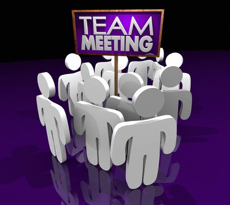 Team Meeting Group Discussion Members Gathering Sign 3d Illustration Foto de archivo - 129826281
