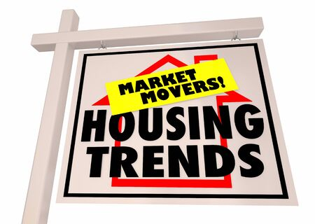 Housing Trends Market Movers Home Industry For Sale Sign 3d Illustration
