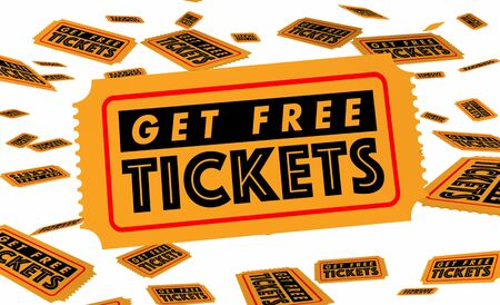 Get Free Tickets Event Concert Movie Performance Win Contest 3d Illustration