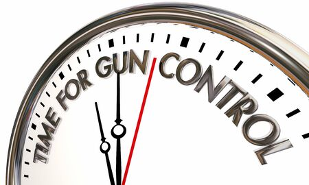 Time for Gun Control Laws Pass New Legislation Clock 3d Illustration