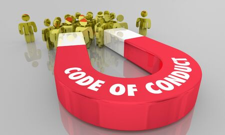 Code of Conduct Rules Behavior People Magnet 3d Illustration Banco de Imagens
