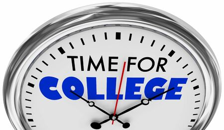 Time for College University Higher Education Clock 3d Illustration