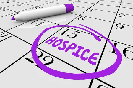 Hospice In-Home Care Assistance Starts Calendar Day Date 3d Illustration