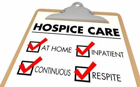 Hospice Levels Stages At Home Continuous Inpatient Respite Care Checklist 3d Illustration Banque d'images - 129826307