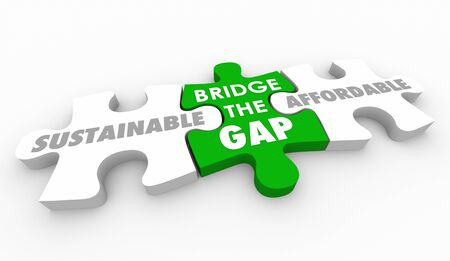 Sustainable and Affordable Bridge the Gap Puzzle 3d Illustration