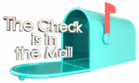 The Check is in the Mail Promise Lie Mailbox 3d Illustration