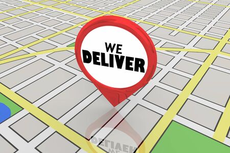 We Deliver Location Restaurant Service Map Pin 3d Illustration Foto de archivo