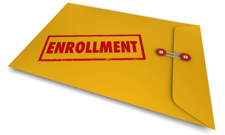 Enrollment Sign Up Join Documents Paperwork Envelope 3d Illustration