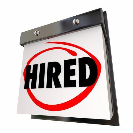 Job Interview Hired Meeting Career Get New Position Calendar 3d Illustration