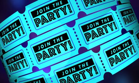 Join the Party Event Celebration Tickets Passes 3d Illustration 写真素材