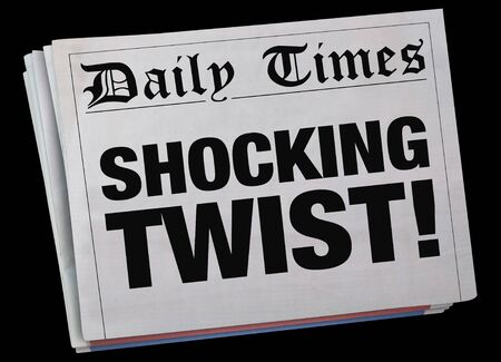 Shocking Twist Surprising Newspaper Headline Spinning 3d Illustration
