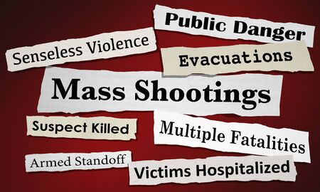 Mass Shootings Newspaper Headlines Public Safety Danger 3d Illustration