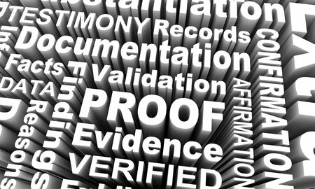 Proof Evidence Facts Information Findings Word Collage 3d Illustration Stok Fotoğraf