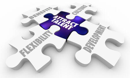 Przyciągnij talent Rekrutacja Praca Korzyści dla pracowników Kultura pracy Puzzle 3d ilustracja