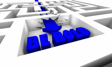 Be Bold Fearless Take Big Action Courage Brave Maze Arrow 3d Illustration.jpg