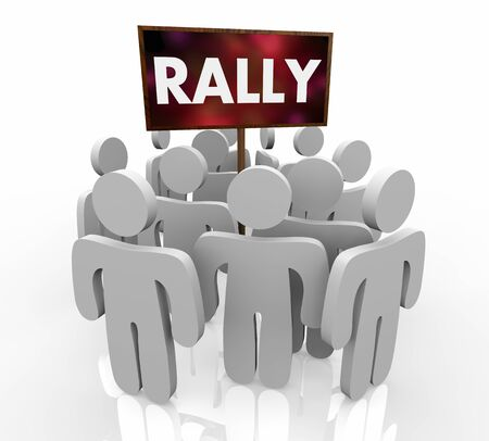 Rally Support Group Meeting People Sign 3d Illustration Stockfoto