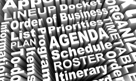 Agenda Items Priorities Order of Business Schedule Words 3d Illustration Stockfoto