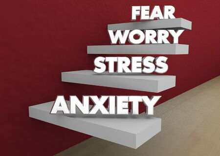 Anxiety Stress Worry Fear Levels Steps Stages 3d Illustration Фото со стока