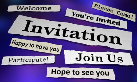 Invitation Newspaper Headlines Youre Invited Attend Event 3d Illustration