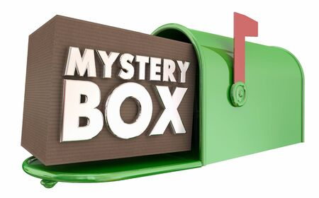Mystery Box Mailbox Package Unknown Surprise Delivery 3d Illustration Stock Photo