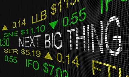 Next Big Thing Stock Market Ticker IPO 3d Illustration