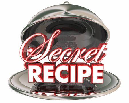 Secret Recipe Ingredients Silver Platter Words 3d Illustration Stok Fotoğraf