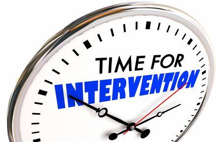 Time for Intervention Action Needed Now Intervene Clock 3d Illustration Archivio Fotografico - 131352167