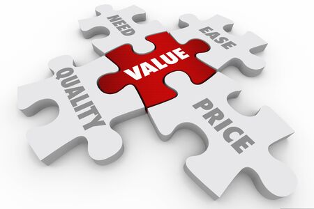 Valor Precio Calidad Necesidad Facilidad Piezas de rompecabezas Ilustración 3d