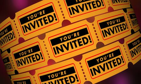 Youre Invited Ticket Attend Event Join Participate Invitation 3d Illustration