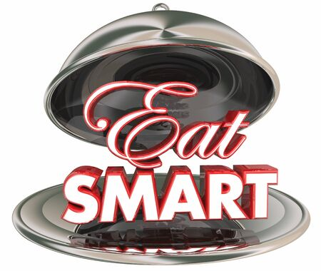 Eat Smart Healthy Food Diet Nutrition Silver Platter 3d Illustration Stock Photo