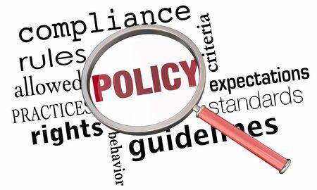 Política Reglas Regulaciones Directrices Lupa Ilustración 3d