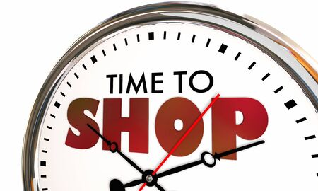 Time to Shop Buy Purchase Clock Ticking 3d Illustration Stock Photo