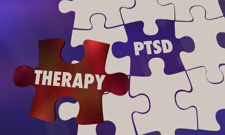 PTSD Post Traumatic Stress Disorder Therapy Puzzle 3d Illustration