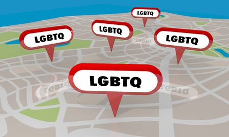 LGBTQ Lesbian Bisexual Gay Transgender Questioning Coming Out Support Group Map Pins 3d Illustration Stockfoto