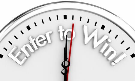 Enter to Win Contest Lottery Game Clock Time 3d Illustration