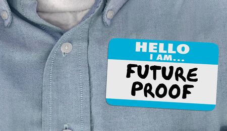 Future Proof Nametag Ready for Change Innovation 3d Animation Banco de Imagens - 132083688