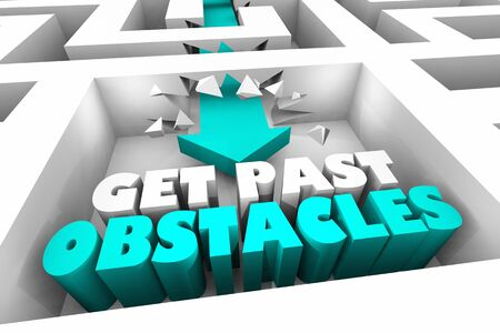 Get Past Obstacles Maze Overcome Challenges Words 3d Animation