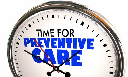 Time for Preventive Care Healthy Wellness Prevention Clock 3d Illustration