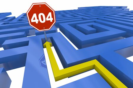 404 Error Page Not Found Missing Website Dead End Maze Stop Sign 3d Illustration Stock Photo